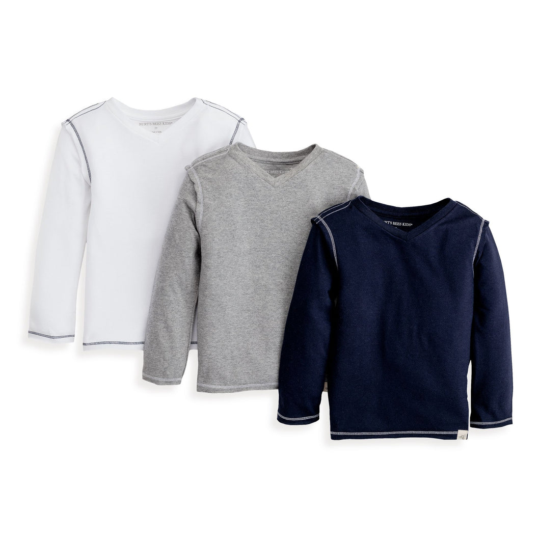 Burt's Bees Long Sleeve Reverse Seam V Neck Tee - Set of 3 - Midnight - Bloom Kids Collection - Burt's Bees
