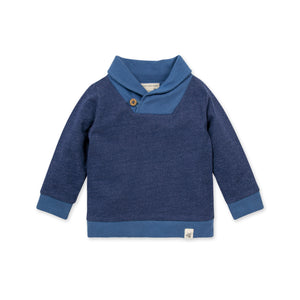Burt's Bees French Terry Shawl Collar Organic Baby Sweatshirt - Huckleberry