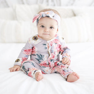 Posh Peanut Ruffle One Piece - French Gray - Bloom Kids Collection - Posh Peanut