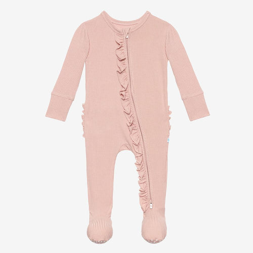 Posh Peanut Footie Ruffled Zippered One Piece - Sweet Pink Ribbed