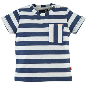Babyface Baby Boys Striped Short Sleeve T-Shirt - Dutch Blue - Bloom Kids Collection - Babyface
