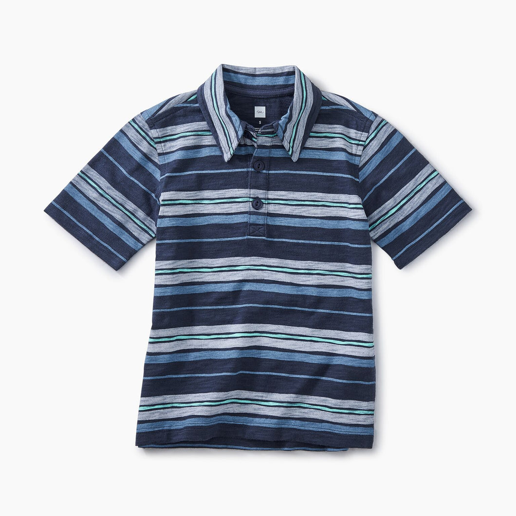Tea Collection Patterned Polo - Painted Stripe