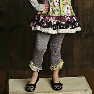 Mustard Pie Vintage Violet Ellie Legging - Grey Dot - Bloom Kids Collection - Mustard Pie
