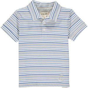 Me & Henry Scupper Polo - Blue Grey White Stripe