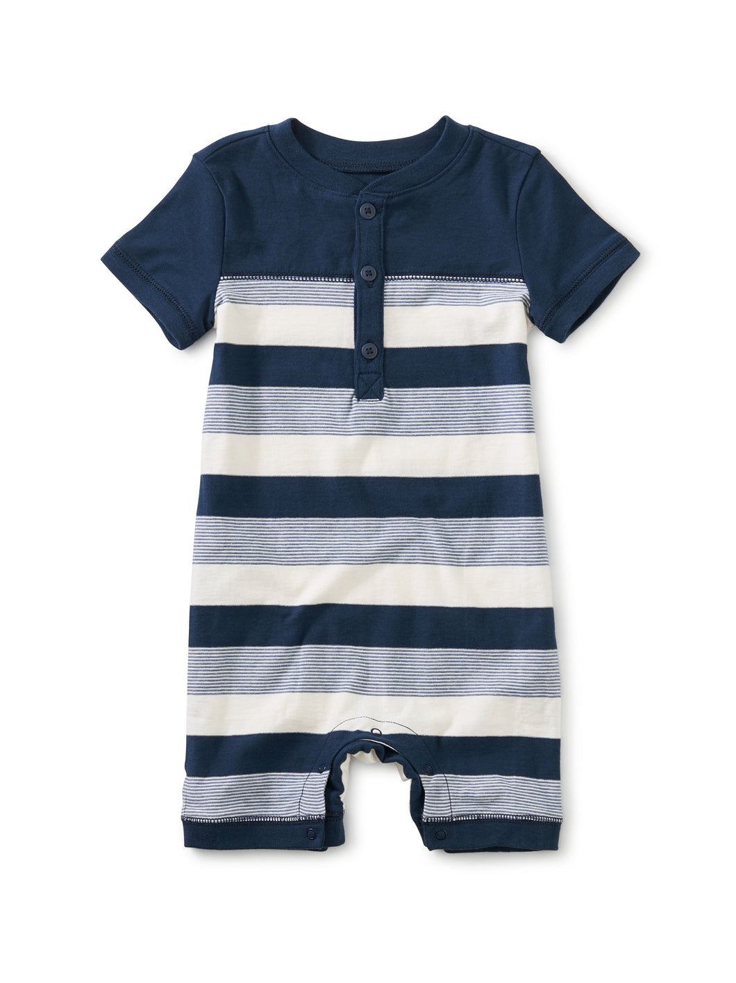 Tea Collection Henley Baby Romper - Whale Blue
