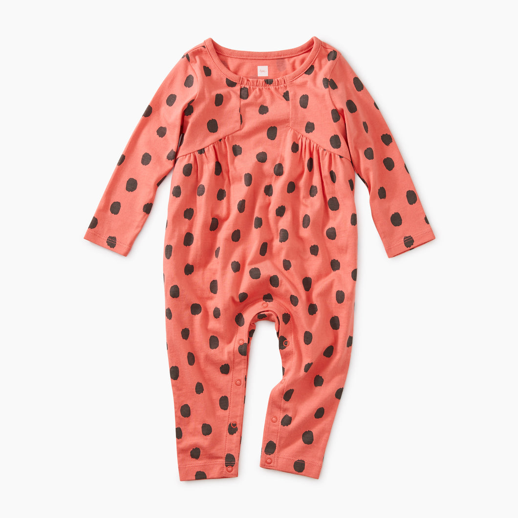 Tea Collection Paneled Romper - Leopard Pink Tulip - Bloom Kids Collection - Tea Collection