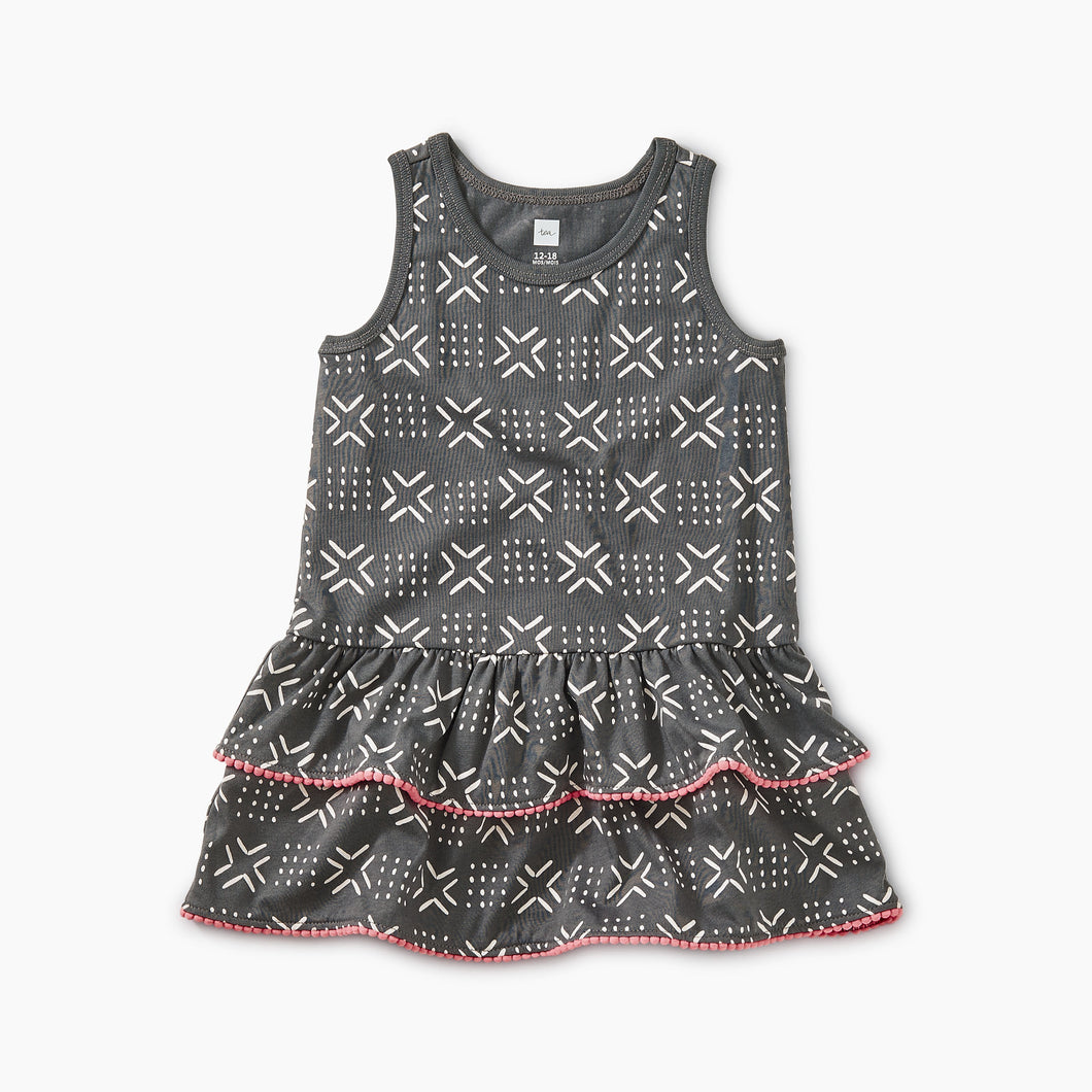 Tea Collection Pom Pom Ruffle Tank Baby Dress - Geo - Bloom Kids Collection - Tea Collection