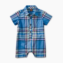 Tea Collection Plaid Buttoned Romper - Seabreeze