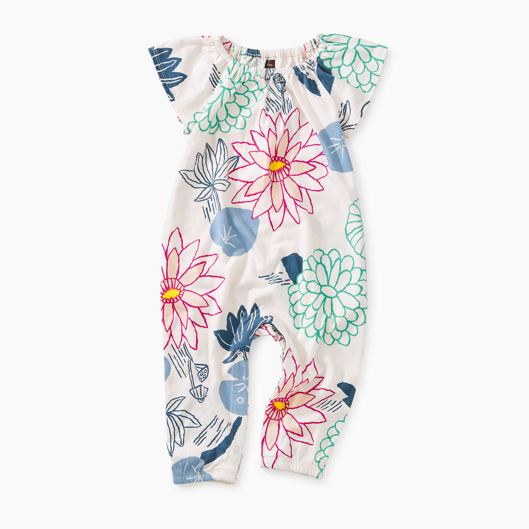 Tea Collection Printed Flutter Sleeve Romper - Lilypad Floral