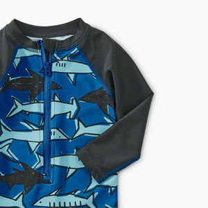 Tea Collection Printed Shortie Rash Guard - School of Sharks