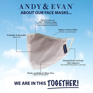 Andy & Evan 4 Pack Face Masks - 3 Layer with Filter Pocket - Boy Mix 2 (2T-7)