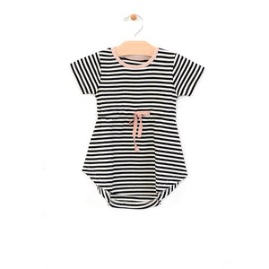 City Mouse Striped Dress - Black/Off White