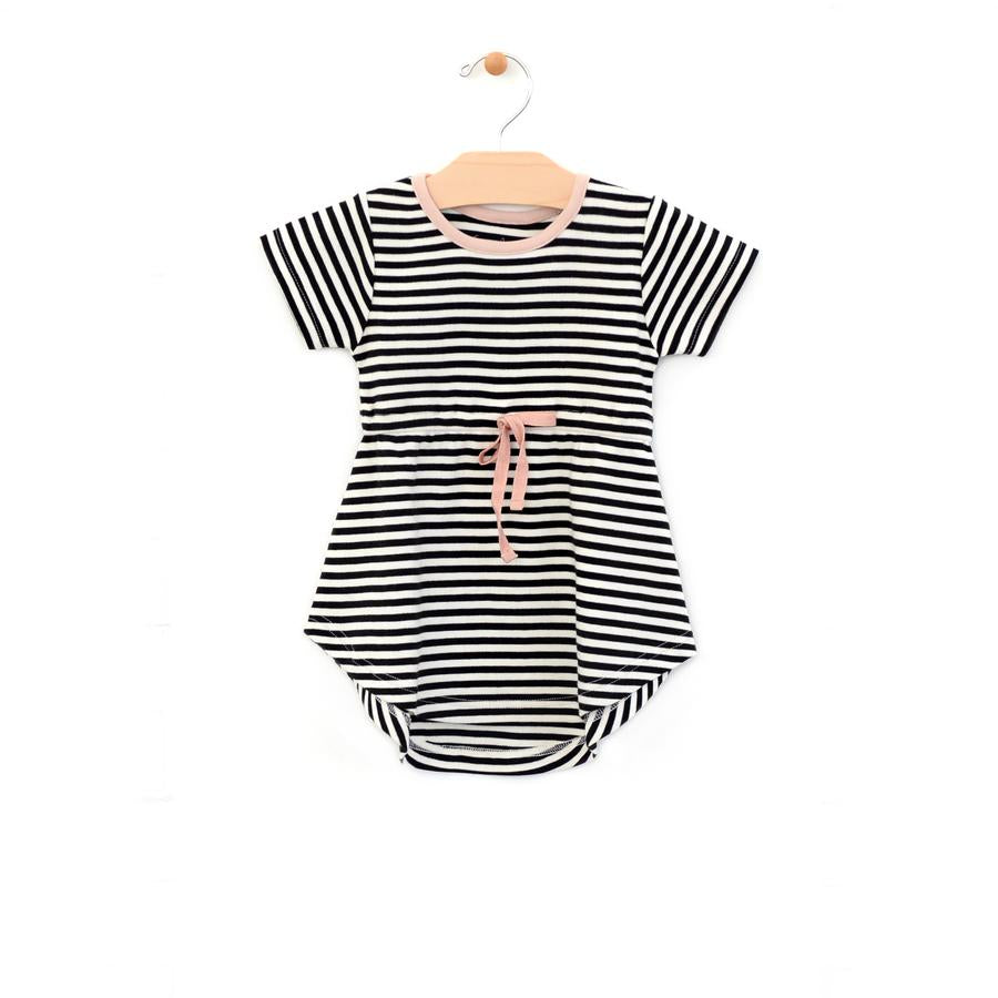 City Mouse Striped Dress - Black/Off White - Bloom Kids Collection - City Mouse