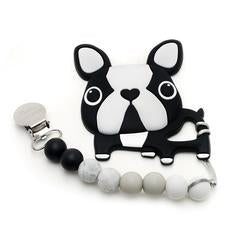 Loulou Lollipop Teether - Boston Terrier Black with Holder