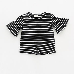 Ruffled Bell Sleeve Top - Black Stripe