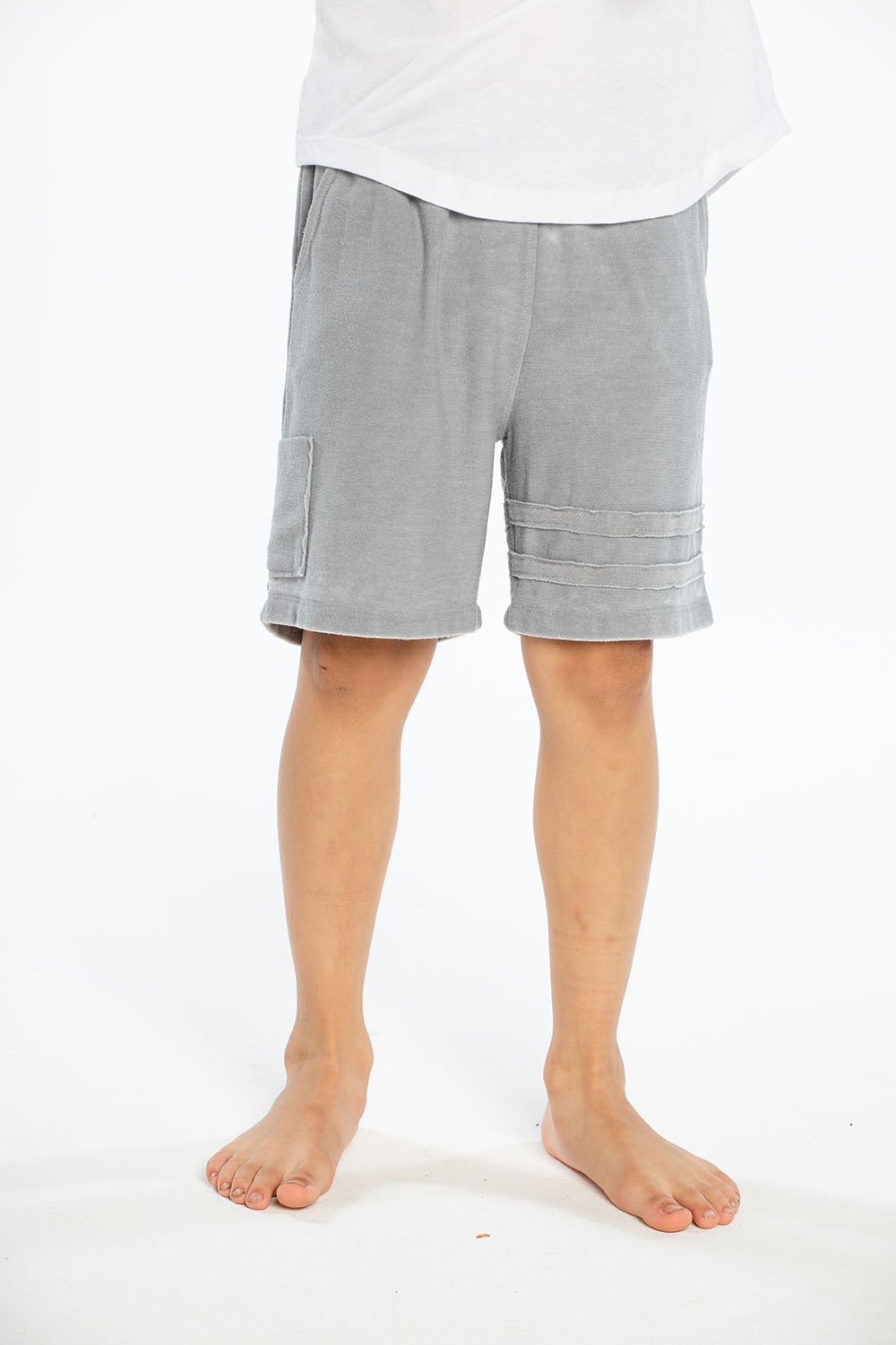 Chaser Cozy Knit Cargo Shorts - Platinum - Bloom Kids Collection - Chaser