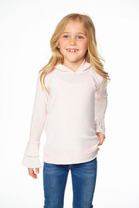 Chaser Cozy Knit Tiered Ruffle Hoodie - Pearl - Bloom Kids Collection - Chaser