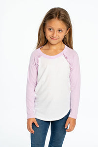 Chaser Ruffle Raglan LS Baseball Tee - Bloom Kids Collection - Chaser