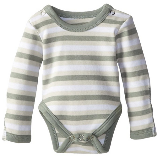 L'ovedbaby Organic Long-Sleeve Bodysuit - Seafoam Stripe - Bloom Kids Collection - L'ovedbaby