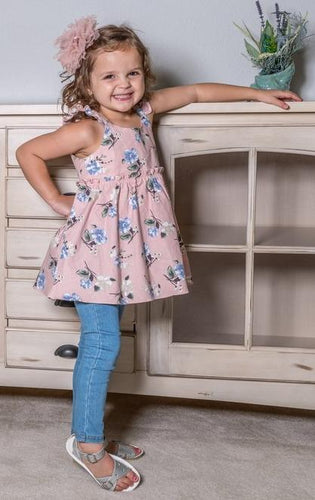ML Kids Flower Tunic - Blush