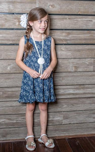 ML Kids Ditzy Print Dress - Navy - Bloom Kids Collection - ML Kids