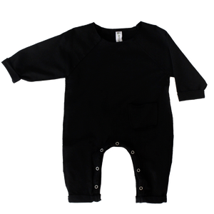 Earth Baby Outfitters Organic Cotton Raw Edge Romper - Black - Bloom Kids Collection - Earth Baby Outfitters