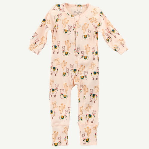Oliver and Rain Llama and Cactus Print Pima Cotton Unionsuit - Light Pink - Bloom Kids Collection - Oliver and Rain