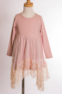 ML Kids Long Sleeve and Lace Dress - Dusty Pink