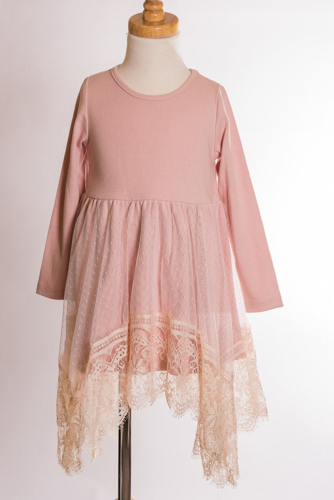 ML Kids Long Sleeve and Lace Dress - Dusty Pink - Bloom Kids Collection - ML Kids