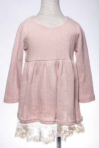 ML Kids Lace Hem Sweater Dress - Pink