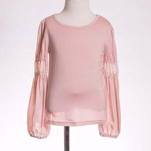 ML Kids Pink Long Bubble Sleeve Top with Lace Detail - Bloom Kids Collection - ML Kids