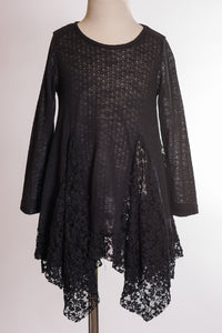 ML Kids Lace Insert Tunic - Black