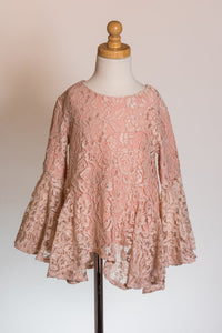ML Kids Bell Sleeve Lace Top - Blush