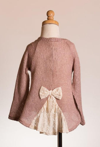 ML Kids Bow Back Sweater Top - Rose
