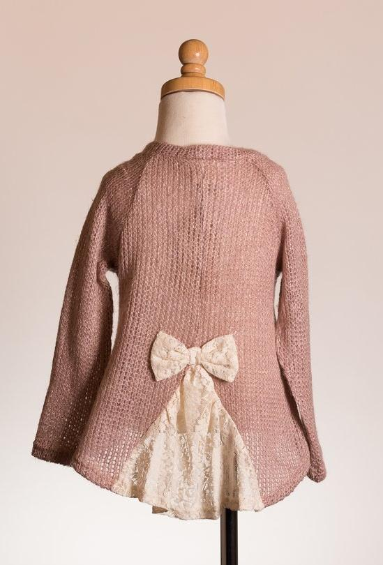 ML Kids Bow Back Sweater Top - Rose - Bloom Kids Collection - ML Kids