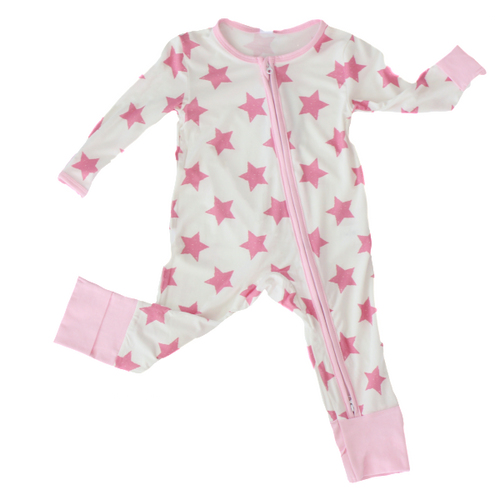Earth Baby Outfitters Bamboo Coverall - Pink Star - Bloom Kids Collection - Earth Baby Outfitters