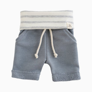 Lulu + Roo Boy Shorts - Fog and Shipley Stripe - Bloom Kids Collection - Lulu + Roo