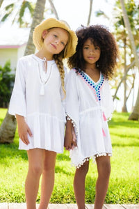Snapper Rock White Embroidered Spot Kaftan - Bloom Kids Collection - Snapper Rock