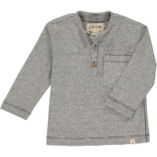 Me & Henry Henley Pocket Button Tee - Dark Grey Stripe