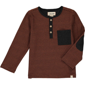 Me & Henry Henley Pocket Button Tee - Rust Stripe