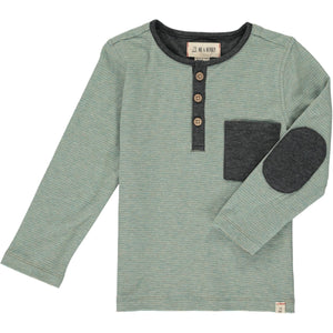 Me & Henry Henley Pocket Button Tee - Sage Stripe