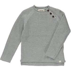 Me & Henry Cotton Sweater w/ Buttons - Grey