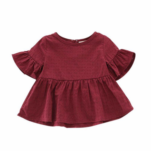 Bell Sleeve Peplum Top - Wine