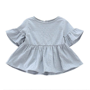 Bell Sleeve Peplum Top - Dusty Blue