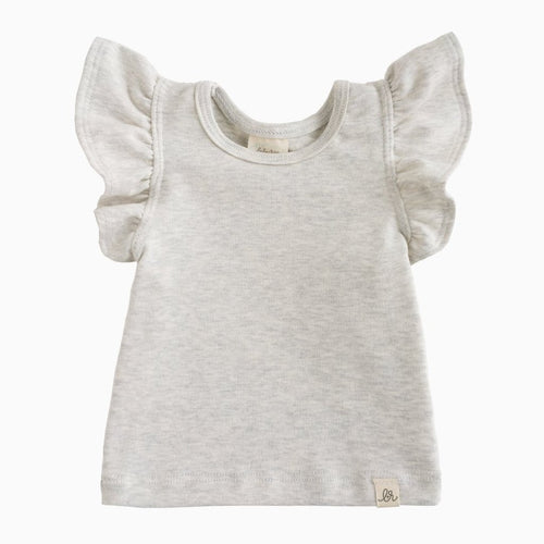 Lulu + Roo Flutter Top - Heathered Cream