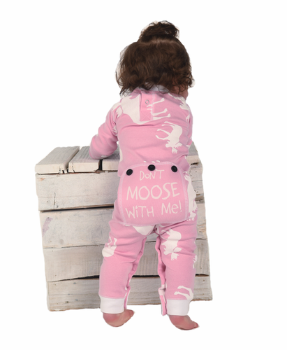 Lazy One Classic Moose Infant Flapjack - Pink - Bloom Kids Collection - Lazy One