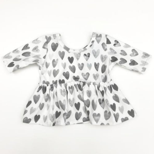 Made by Molly Peplum Top - Grey Hearts