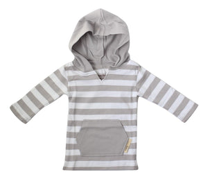 L'ovedbaby Organic Hoodie - Light Gray/White - Bloom Kids Collection - L'ovedbaby