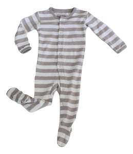L'ovedbaby Organic Footed Overall - Gray/White Stripe - Bloom Kids Collection - L'ovedbaby