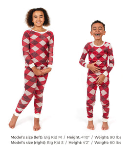 Burt's Bees Abstract Argyle Tee & Pant PJ Set - Cranberry - Bloom Kids Collection - Burt's Bees